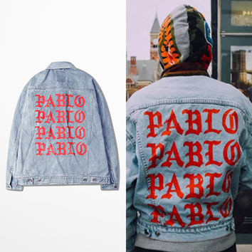 Men's Denim Kanye West I Feel Like Pablo Denim Coat Jacket
