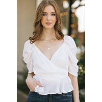 Chantel Puff Sleeve Surplice Top