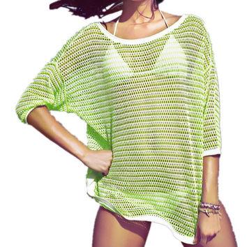 Fruit Green Hollow Crochet Swimwear Bikini Cover Up Beach Dress
