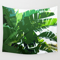 Banana Palms - Wall Tapestry, White & Green Tropical Palm Frond Beach Botanical Surf Decor Hanging Throw Cover. In 51x60 68x80 88x104 Inches