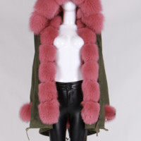 Karley Coral Fur Green Parka Coat
