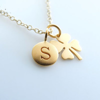 24K GOLD Clover Necklace Personalized Initial Necklace 14k gold filled Four leaf lucky clover shamrock Gold initial necklace