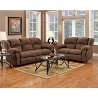 Exceptional Designs Reclining Living Room Set in Aruba Chocolate Microfiber
