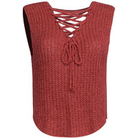 Red V Neck Lace Up Front Knit Vest