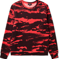 Dark Red Basic Allover Print Sweatshirt