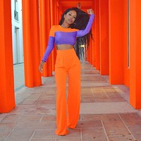 Women Fashion Two Piece Orange/Purple Long Sleeve Crop Top Pant Set