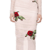 Rose Flower Appliqued Mesh Midi Dress