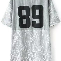 Grey Number 89 Print Lace Embroidered Short Sleeve T-shirt