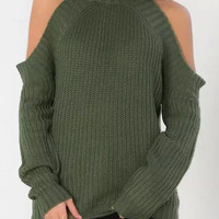 Solid Color High Neck Cold Shoulder Long Sleeve Sweater