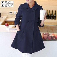Women Flare Trench Coat -Solid Double Breasted Blended Long Jacket