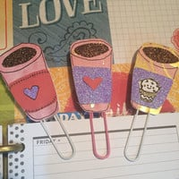 Coffee Cup Planner Clips/Bookmarks