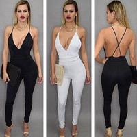 Deep V Spaghetti Strap Backless Jumpsuit