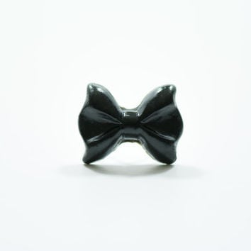 Black Bow Ring, Polymer Clay Ring, Bow Ring