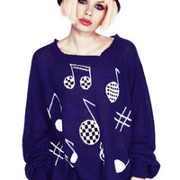 Musical Note Pattern Long Sleeve Sweater