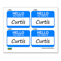 Curtis Hello My Name Is - Sheet of 4 Stickers