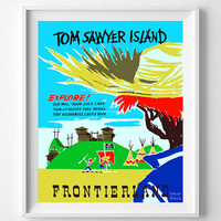 Vintage Disneyland, Poster, Print, Tom Sawyer Island, Disney, Frontierland, Reproduction, Restored, Restoration, Vintage [No 1284]