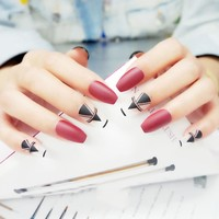 24Pcs Fake Nails Coffin Elegant Solid Wine Red Long Full Cover False Nails With Designs Glue Sticker Nail Tips faux ongle unhas