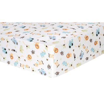 Baby Cribs - Jungle Friends Deluxe Flannel Fitted Crib Sheet