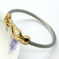 Three-Color Titanium Steel Bracelet Hooks Fashion Jewelry Infinity Love Charm Bracelets Bangles For Women