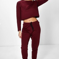 Leah Raw Edge Oversized Sweater And Jogger Set