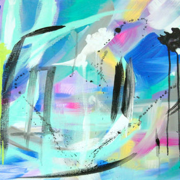 Contemporary Abstract Painting Original Artwork 18x24 Blue Green Pink Modern Art
