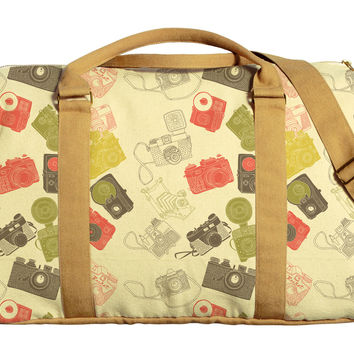 Vintage Cameras Printed Oversized Canvas Duffle Luggage Travel Bag WAS_42