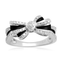 Sterling Silver Black Enamel Double-Bow Diamond Ring (1/10 cttw, I-J Color, I2-I3 Clarity)