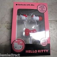 New - HELLO KITTY Earbuds Ear buds Headphones with Microphone 13309