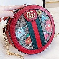 GUCCI Fashion New Floral More Letter Leather Shopping Leisure Shoulder Bag Women Crossbody Bag Red