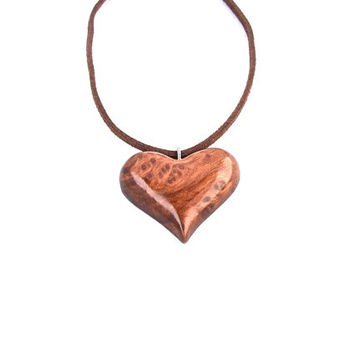 Wooden Necklace, Hand Carved Wooden Heart, Wooden Heart Necklace Pendant , Wooden Pendant, Heart Carved Pendant, Hand Carved Heart Necklace