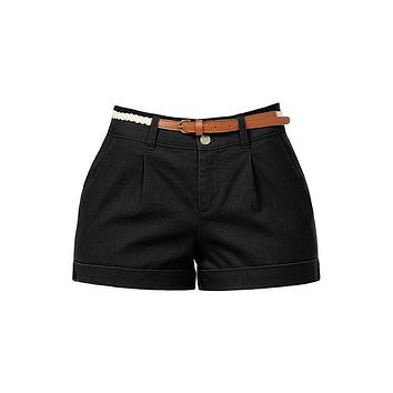Casual Lightweight Stretchy Low Rise Cuffed Belted Shorts with Pockets (CLEARANCE)