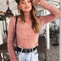 Women Turtleneck Jumper Sweater Female Fashion Hairy Pullover Sweater Fluffy Knit Tops