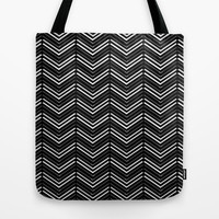 Black and White Chevron Pattern Tote Bag by T30 Gallery | Society6
