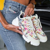 Hipgirls DIOR new ladies fashion sports casual shoes Flower pattern