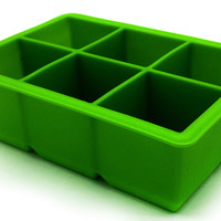 PuTwo Ice Cube Tray 6-Square Soft Silicone Ice Maker Jelly Pudding Mould - Green