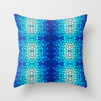 Winter Lights - Blue and White Abstract Mosaic Art By Sharon Cummings Throw Pillow by Sharon Cummings