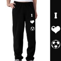 Soccer Fleece Sweatpants - I Love Soccer (Symbols) Youth Small on Black