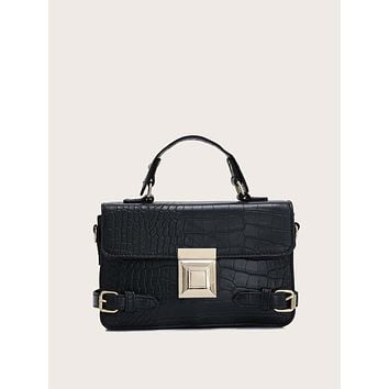 Croc Embossed Buckle Decor Satchel Bag