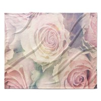 """Suzanne Carter """"Faded Beauty"""" Blush Floral Fleece Throw Blanket"""
