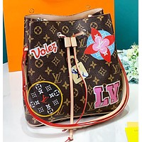 LV New fashion monogram print leather shoulder bag women bucket bag crossbody bag