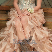 Stunning Sweetheart  Crystal Champagne Floor Length Beaded Sequins Evening Party Gown Ruffled High Low Prom Dresses