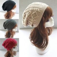 New fashon Women's Hat Knitted Sweater Fashion Caps Baggy solid Bonnet soft warm beanie = 1958068676