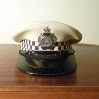 Vintage 1980s Issued Western Australian Police Hat / Cap with Metal Cap Badge in Great Condition / Collectible Police Memorabilia
