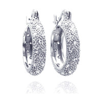 Sterling Silver Rhodium Plated Cluster Hoop Earrings