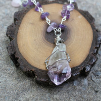 Raw Amethyst Crystal Healing Third Eye Necklace with Rose Quartz and Opalite Handmade Raw Crystals Handmade Necklace Jewelry