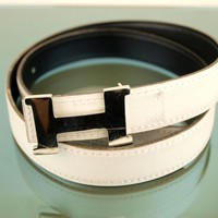 100% AUTH HERMES H BUCKLE WHITE LEATHER LADIES BELT 70 FRANCE GOOD CONDITION