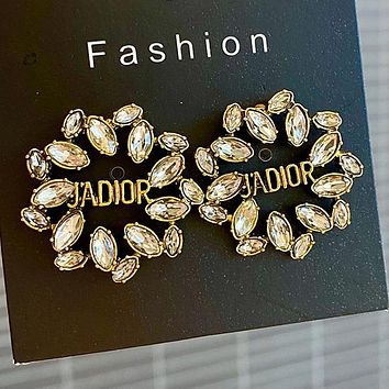 DIOR 925 Popular Women Personality Golden Letter Pendant Long Style Earrings Accessories #4