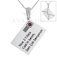 Personalized Envelope Necklace in Sterling Silver Metal with Swarovski Crystal, Engraved Silver Necklace, Christmas Gift for Her