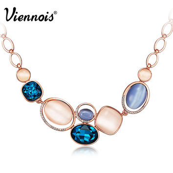 Viennois Brand Rose Gold Blue Real Cat Eyes Opal Stone Rhinestone Crystal Chain Necklaces New for Women Jewelry Wedding