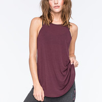 Full Tilt Essential Ribbed Hi Neck Womens Tank Burgundy  In Sizes